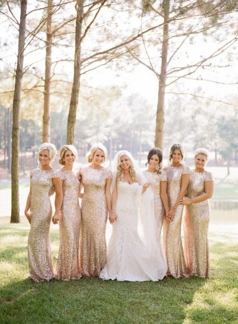 rose gold sequin sheath bridesmaids_ dresses with cap sleeves