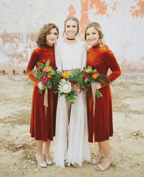 rust-colored velvet midi turtleneck bridesmaid dresses with long sleeves