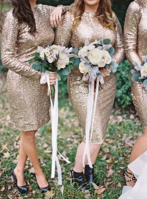 sheath gold sequin bridesmaid dresses with high necckline, long sleeves and a knee length