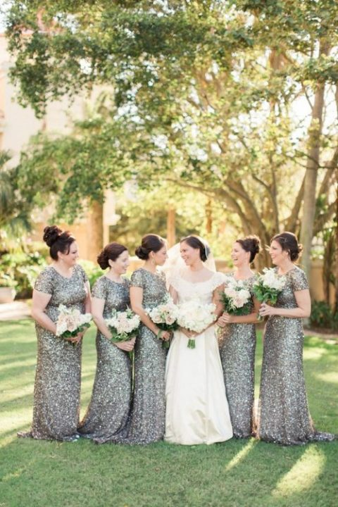 silver sequin fitting bridesmaid dresses are a chic and sophisticated idea