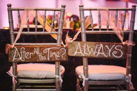 Harry Potter inspired signs for the couple_s chairs look wow