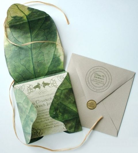 LOTR themed wedding invitations in a real leaf printed envelope