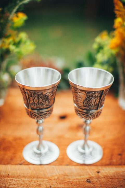 Lord of the Rings inspired wedding goblets