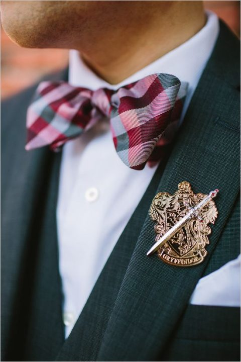 a Gryffindor boutonniere and a plaid bow tie are stylish accents for a magical look