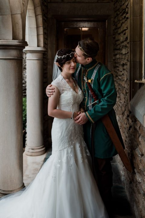 a Lord Of the Rings inspired couple with beautiful headpieces and cute ears