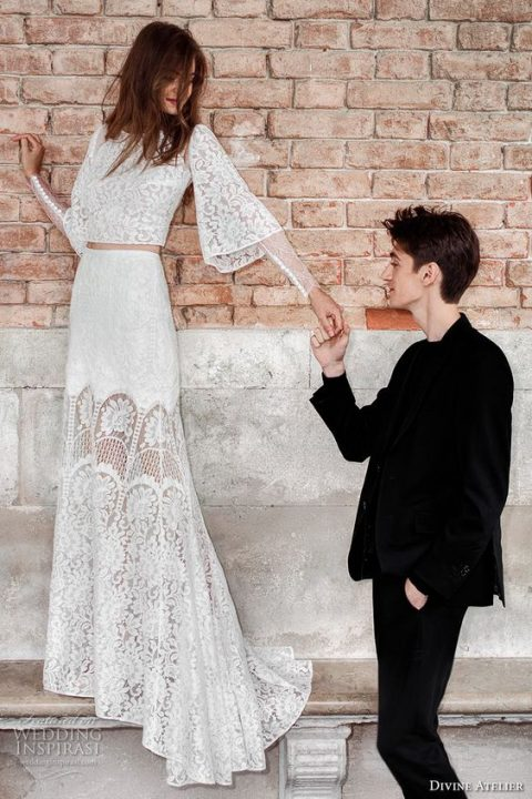 a boho long bell sleeve bridal separate with a long skirt, a crop top and a high neckline