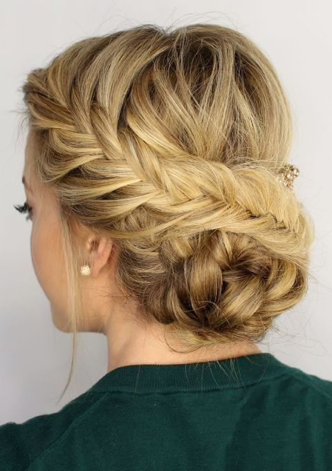 a braided updo with a low braided bun