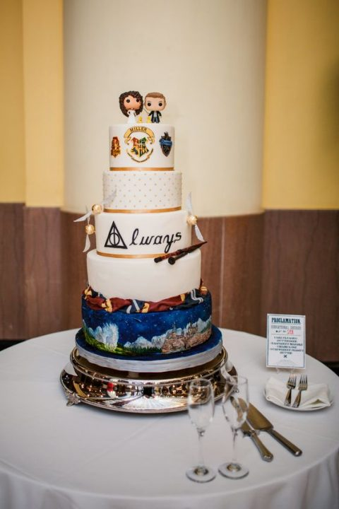 a fun Harry Potter wedding cake with Lego toppers