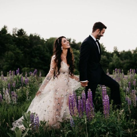 a neutral sheer wedding dress with silver stars and a V-neckline