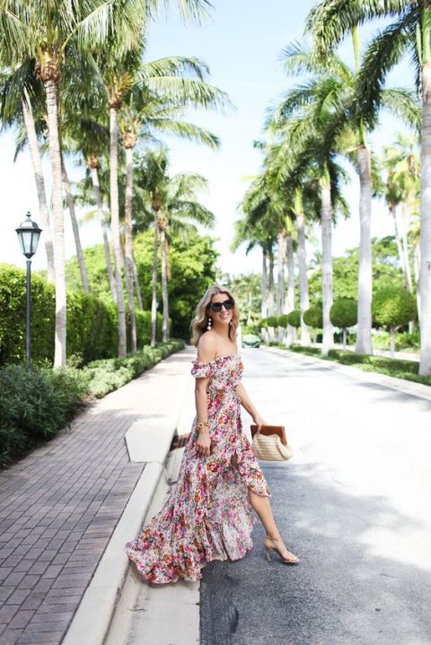 an off the shoulder floral maxi high low dress with a ruffled skirt, statement earrings and nude heels