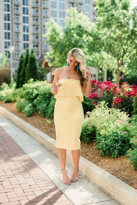 an off the shoulder midi dress, nude shoes and turquoise statement earrings