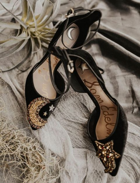 black velvet embellished celestial and starry heels with ankle straps are a gorgeous idea for a boho starry wedding