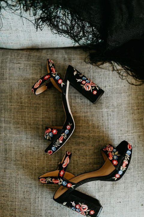 black velvet platform sandals with block heels and colorful floral embroidery all over