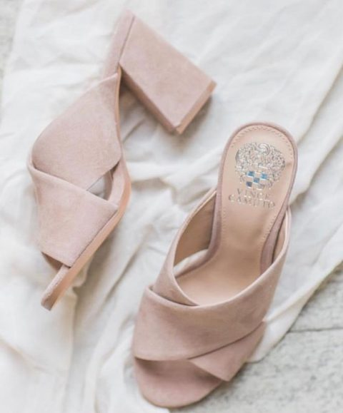 blush mules are a trendy statement that can finish off a tender and romantic bridal look
