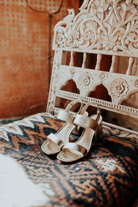comfy silver mules with block heels are great for wearing at the wedding