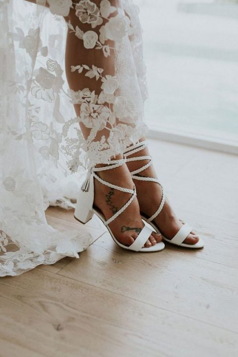 low block heel wedding sandals with braided lacing up and tassels bring a light boho feel effortlessly