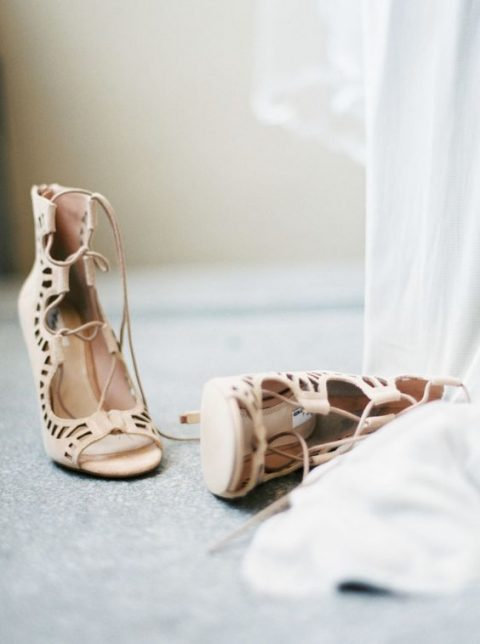 neutral laser cut lace up shoes look amazing and will highlight your legs
