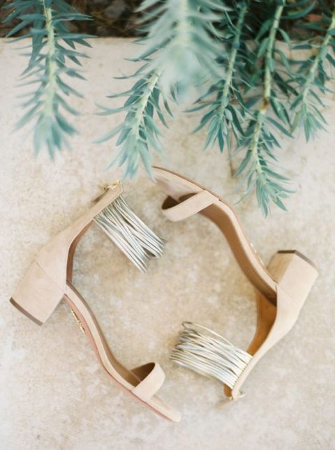 nude block heel shoes with straps are a great choice for a tropical or summer wedding