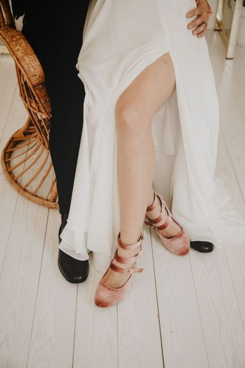 peachy crushed velvet bridal shoes with straps