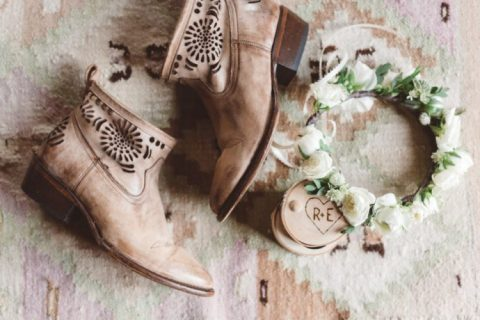 tan laser cut wedding booties for ultimate comfort at your boho rustic wedding