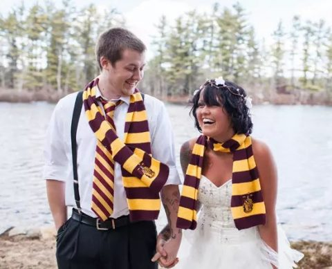 wear Gryffindor scarves and your groom can also add a tie to bring a Harry Potter feel