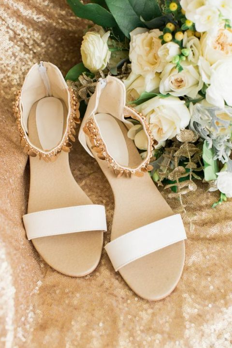 white wedding sandals with embellished ankle straps