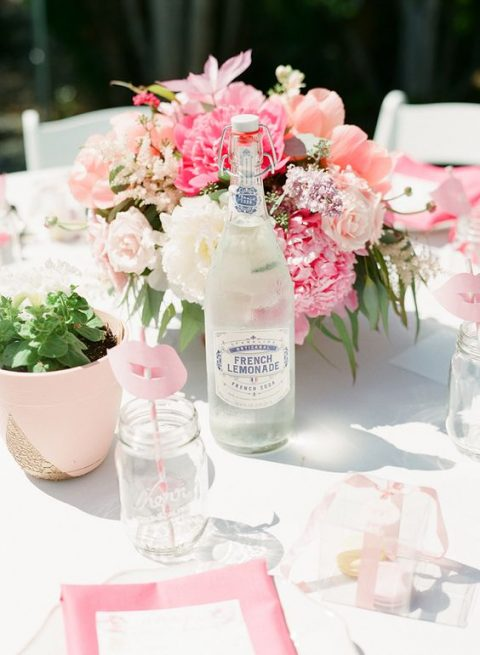 a pretty backyard bridal shower tablescape with touches of pink and blush and lush florals
