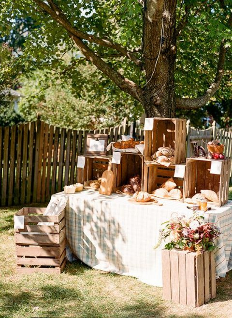 a simple rustic buffet for a farmers_ market bridal shower