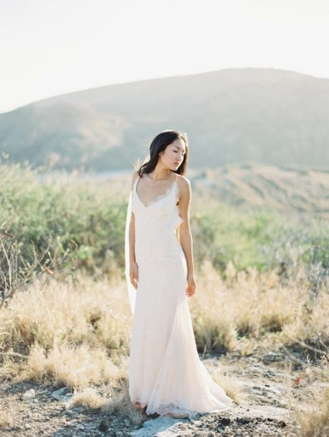 an all-lace slip wedding gown plus waves down is a very cute and romantic idea