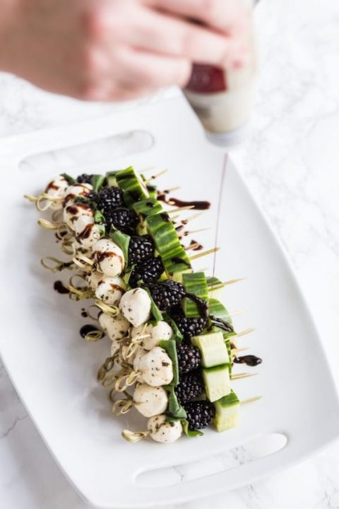 blackberry cucumber caprese skewers with basil are a simple and tasty option