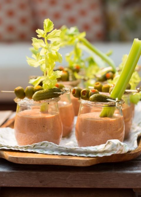 bloody mary gazpacho shooters are a refreshing tomato soup meets a classic cocktail
