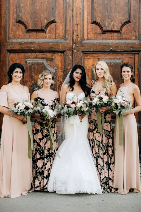 blush and dark floral maxi bridesmaid dresses for a trendy touch