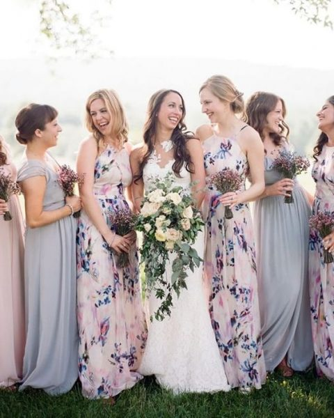 lavender and pink dresses and floral print ones in the same colors and shades for a catchy look