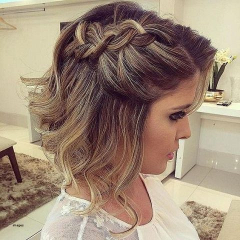 mid-length haircut with waves down and a cool braid on one side