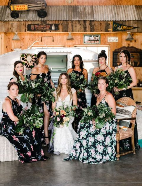 mismatching dark floral maxi dresses with various necklines