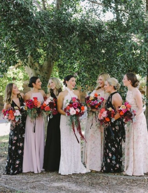 mismatching max ifloral bridesmaid dresses in blush and black