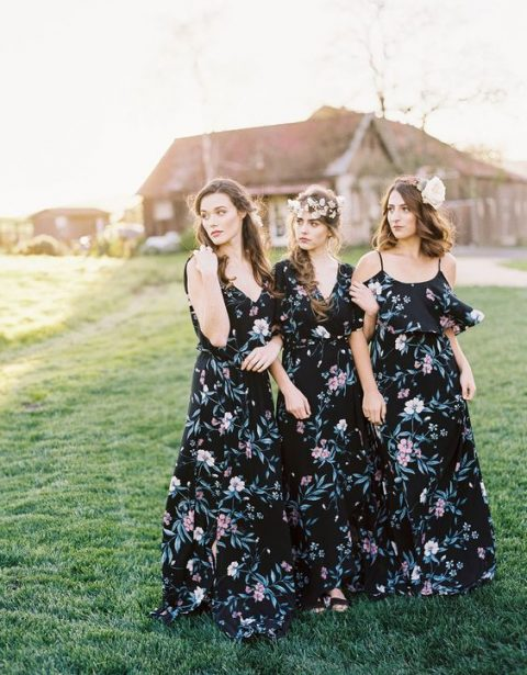 moody floral print maxi dresses with various necklines