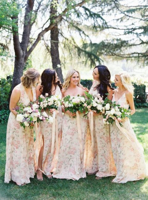 neutral floral bridesmaid maxi dresses with side slits and various necklines