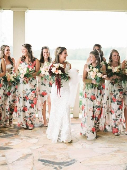 pretty mismatched creamy gowns with red and pink floral prints