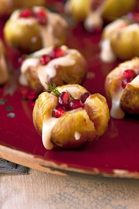 robiola stuffed figs with pomegranate is a gorgeous appetizer