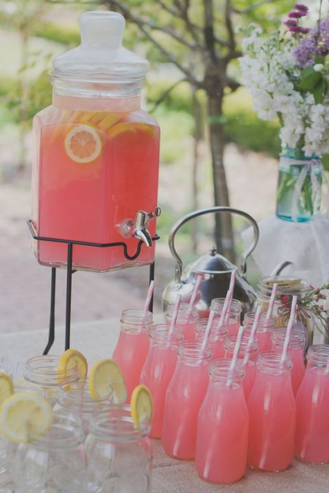serve pink lemonade in bottles and jars plus citrus as a soft drink, girls will love it
