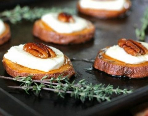 toasted goat cheese and pecan sweet potato bites