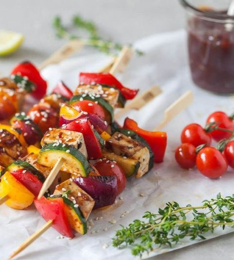 vegan grilled tofu skewers are gluten-free and low-carb