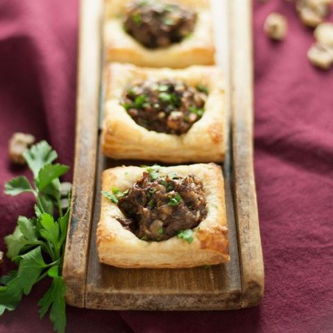 vegan mushroom and black walnut tartlets with rosemary and thyme