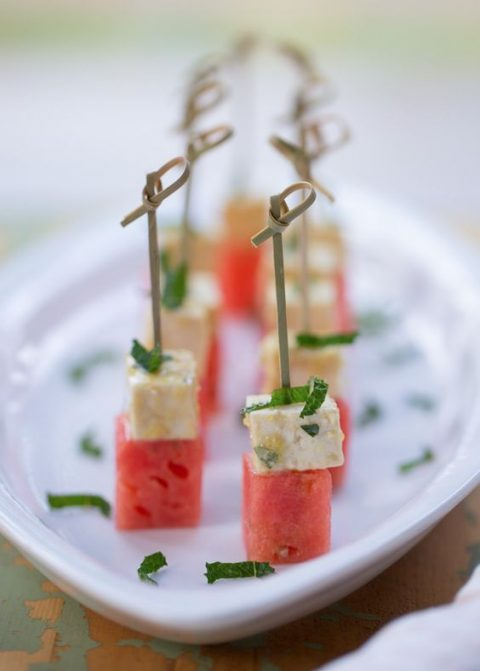 watermelon and marinated tofu skewers are amazing for summer