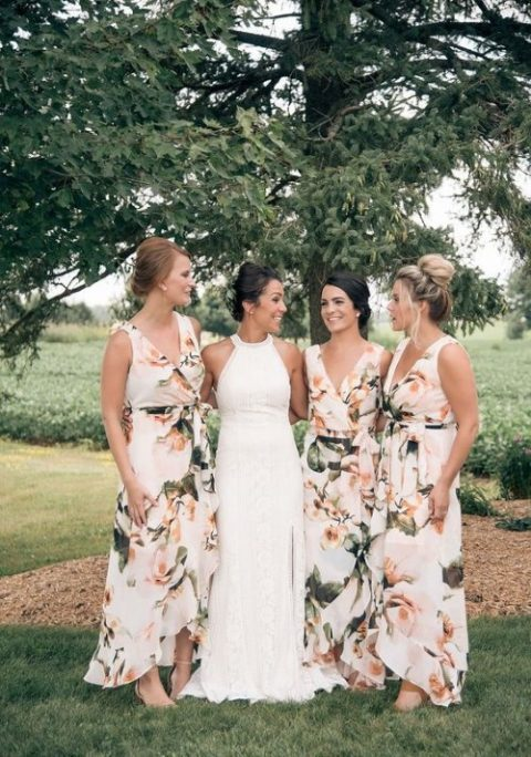 wide strap high low maxi bridesmaid dress with a floral print