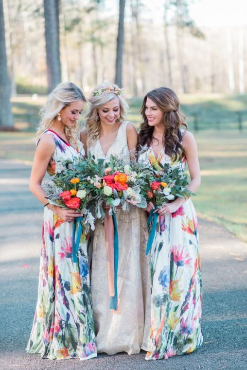 wide strap maxi dresses with a V-neckline and watercolor floral prints