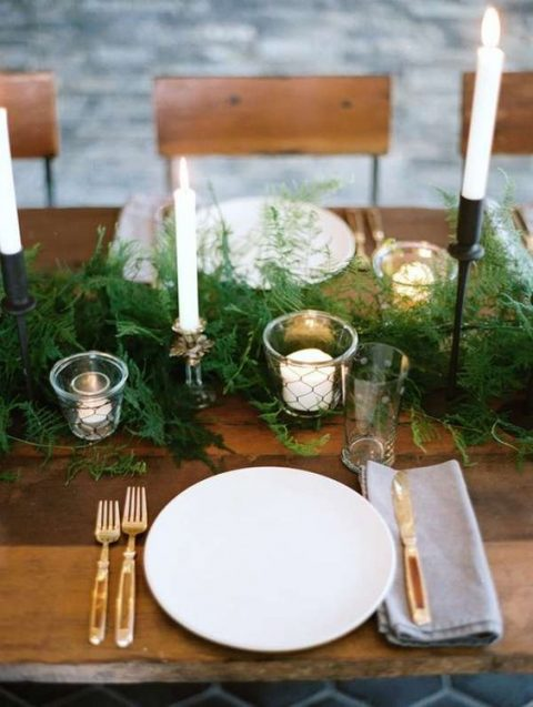 a lush fern table runner will give your table a slight woodland feel
