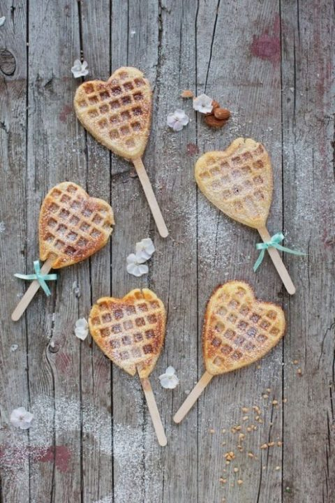heart-shaped waffle pops is a cute idea for a wedding