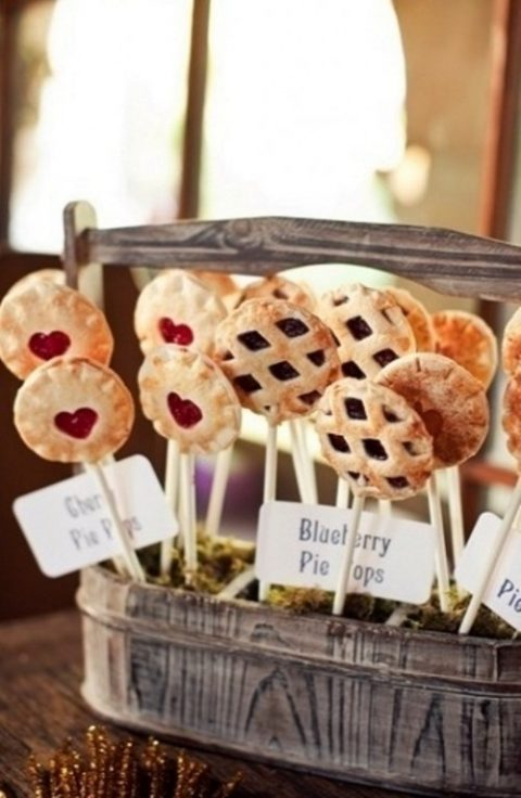 mini fruit and berry pies on sticks are very creative and fun